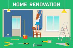 Room repair in home. Interior renovation in apartment and house. Flat style Stock Illustration