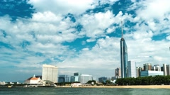 Fukuoka - Beach view with Fukuoka Tower. 4K resolution time lapse panning Stock Footage