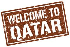 Welcome to Qatar stamp Stock Illustration