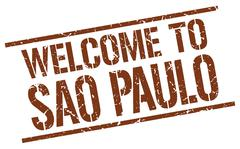 Welcome to Sao Paulo stamp Stock Illustration