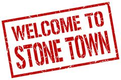 Welcome to Stone Town stamp Stock Illustration