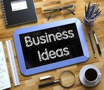Business Ideas - Text on Small Chalkboard. 3D Illustration Stock Illustration
