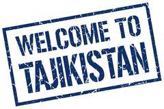 Welcome to Tajikistan stamp Stock Illustration