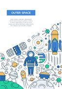 Outer Space - line design brochure poster template A4 Stock Illustration