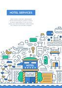 Hotel Services - line design brochure poster template A4 Stock Illustration