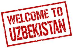 Welcome to Uzbekistan stamp Stock Illustration