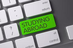 Green Studying Abroad Keypad on Keyboard. 3D Render Stock Illustration