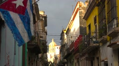 Establishing shot of the colorful streets of Old Havana, Cuba. Stock Footage