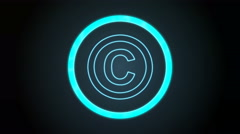 Bluish Copyright Icon with digital code Stock Footage