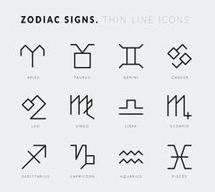 Zodiac signs. Thin line vector icons Stock Illustration