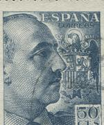 SPAIN - CIRCA 1949: Stamp printed in showing a portrait of General Francisco Stock Photos