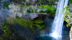 4K Natural Mountain Waterfall, Moss Rock Face, Top Down View Stock Footage