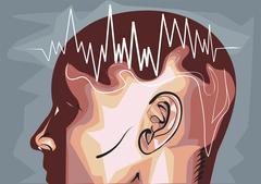 Brain waves eeg Stock Illustration