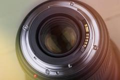 Closeup of photo lens Stock Photos
