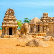 Ancient Hindu monolithic Indian sculptures rock-cut architecture Pancha Ratha Kuvituskuvat