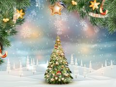 Christmas fir tree on winter landscape. EPS 10 Stock Illustration