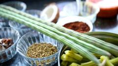 Okra and Moringa seeds Stock Footage