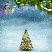 Christmas fir tree on winter landscape. EPS 10 Stock Illustration