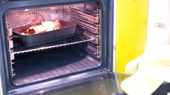 Meat baked in oven Stock Footage