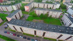 Summer city landscape. Green town. Aerial footage. Stock Footage