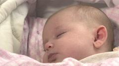 Baby sleeping in the cribs: cute newborn sleeping quietly  Stock Footage