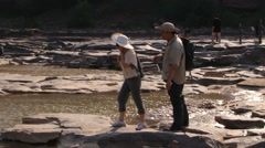 People visit Hukou waterfall at the Yellow river (Huang He) in Yichuan, China. Stock Footage