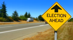 4K Election Ahead Warning Sign, Yellow Diamond Sign, Road Traffic, Voting Time Stock Footage