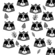 Cute raccoon cartoon pattern background Stock Illustration