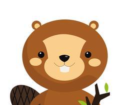 Cute beaver cartoon icon Stock Illustration