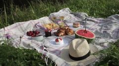 Summer Picnic on the Rug. Fruits, Berries, Pastries and Cheese Stock Footage