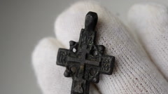 Historic traditional pectoral cross close Stock Footage