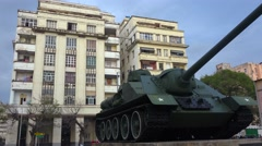 An army tank stands in front of the Museum Of Revolution in Havana, Cuba. Stock Footage