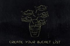 Bucket list of love and family-related dreams to accomplish Stock Illustration