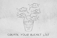 Bucket list of fitness and healthy goals to accomplish Stock Illustration