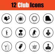 Set of twelve Night club icons Stock Illustration