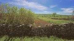 Dalmatia stone wall aerial Stock Footage