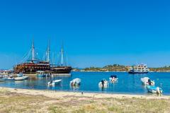 OURANOPOLIS, GREECE - JUNE 05, 2009: Original touristic cruise ships in bay n Stock Photos