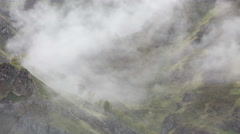The formation of clouds up to the slopes of the mountains of Caucasus Stock Footage