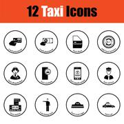 Set of twelve Taxi icons Stock Illustration