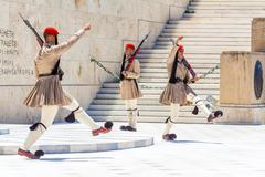 ATHENS, GREECE - JUNE 08, 2009: The Changing of the Guard ceremony in front o Stock Photos