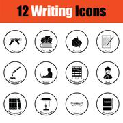 Set of writer icons Stock Illustration
