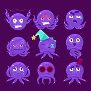 Funny Octopus Character Emoji Set Stock Illustration