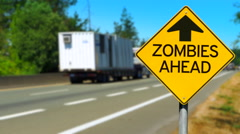 4K Zombies Ahead Warning Sign, Yellow Diamond Sign, Road Traffic, Walking Dead Stock Footage