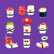 Funny Sushi Man Different Activities Set Stock Illustration
