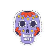 Mexican Painted Skull Bright Hipster Sticker Stock Illustration