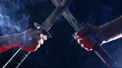 Japanese samurai warriors fighting with swords. Blade close-up Stock Footage