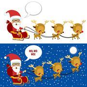 Santa Sleigh Christmas Scene Stock Illustration