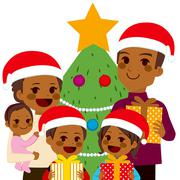 African American Family Celebrating Christmas Stock Illustration