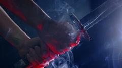 Japanese katana sword. Blade close-up Stock Footage