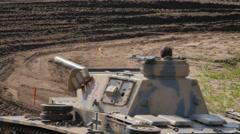 PANZERKAMPFWAGEN III (FLAMM) Military Tank driving around Stock Footage